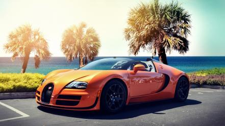 Streets cars bugatti veyron sunlight roads grand sport Wallpaper