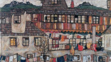 Traditional art egon schiele 20th century austrian wallpaper