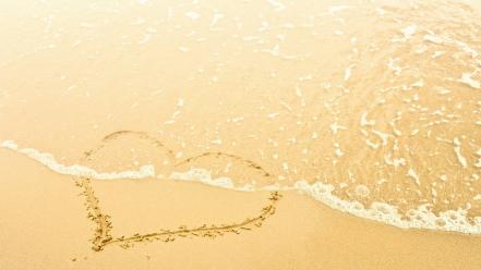 Beach hearts romance wallpaper