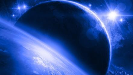 Blue outer space stars planets art Wallpaper