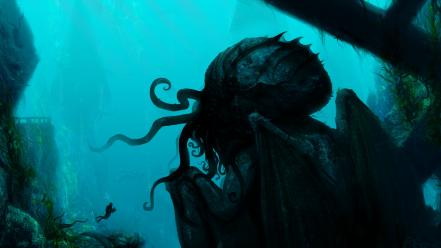 Cthulhu fantasy art artwork underwater wallpaper