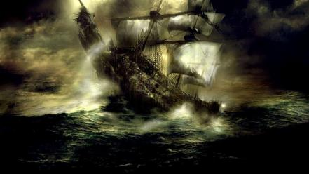 Dark ships fantasy art sea wallpaper