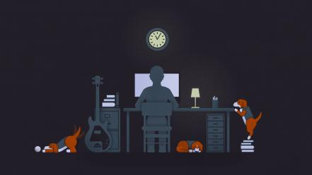 Dogs pc clocks guitars artwork beagle wallpaper