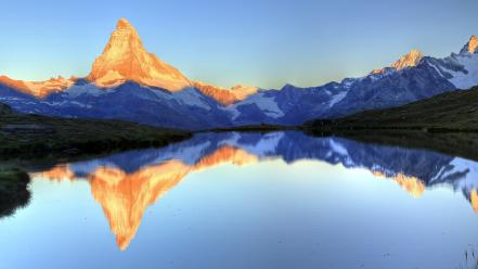 Mountains landscapes sunlight switzerland panorama lakes matterhorn reflections wallpaper