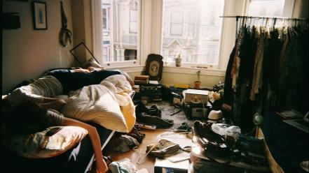 Room beds mess clothing apartments wallpaper