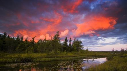 Sunset landscapes nature rocky nova scotia lakeview wallpaper