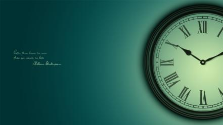 Text quotes clocks william shakespeare cyan wallpaper