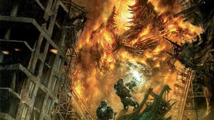 Video games fire fight destruction devil hellgate london Wallpaper