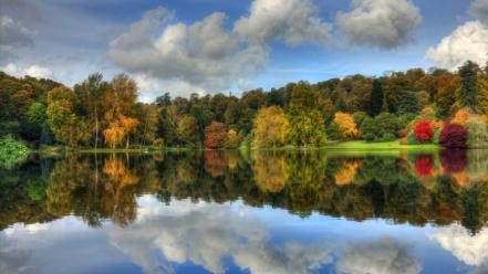 Water clouds nature trees autumn forests lakes reflections wallpaper