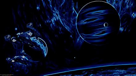 Abstract outer space planets spaceships science fiction sci-fi wallpaper