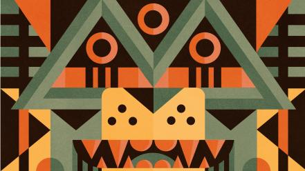 Abstract shapes artwork totem pole ben newman wallpaper