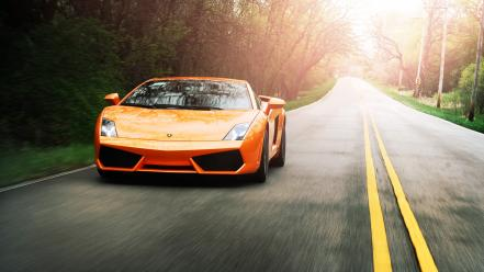 Lamborghini gallardo orange road speed wallpaper