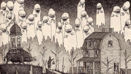 Monochrome artwork drawings traditional art john kenn wallpaper