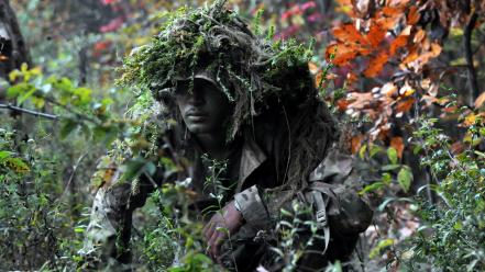 Soldiers men camouflage ghillie suit wallpaper