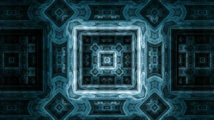 Abstract fractals patterns shapes artwork symmetry teal wallpaper