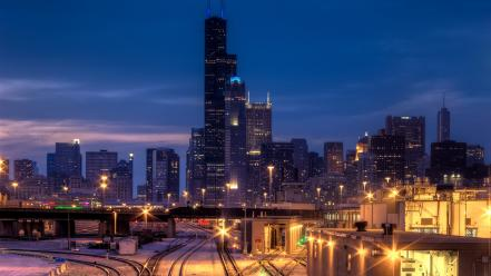 Cityscapes chicago night usa train stations wallpaper
