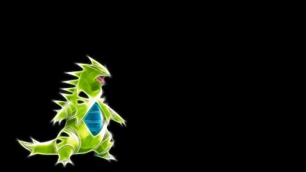 Fractalius pokemon tyranitar black background Wallpaper