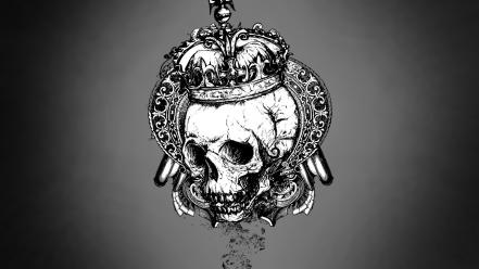 Skulls gray crowns vector art grey background wallpaper