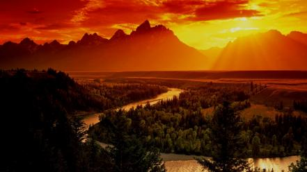 Sunset mountains nature forests valleys rivers wallpaper