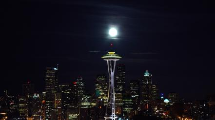 Cityscapes night architecture seattle wallpaper