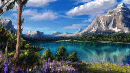 Paintings landscapes nature wallpaper
