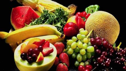 Vegetables fruits watermelons grapes bananas strawberries wallpaper