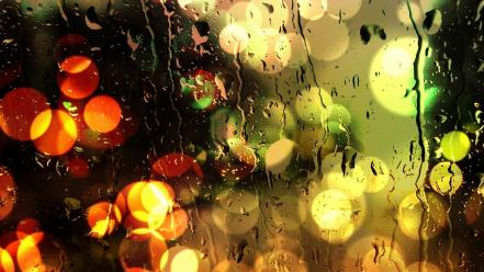 Bokeh window panes rain on glass neon wallpaper