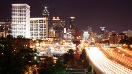 Cityscapes georgia buildings atlanta city lights long exposure wallpaper