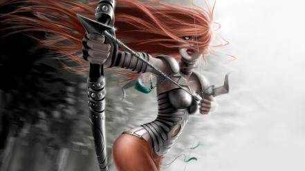 Fight long hair warriors female arrows archer wallpaper