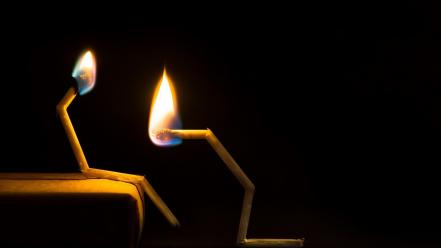 Flames couple black background matchsticks wallpaper