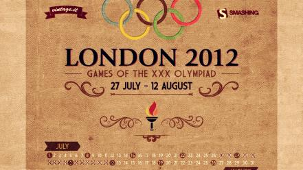 Vintage london calendar olympics july posters 2012 wallpaper