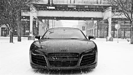 Winter snow cars audi r8 front view wallpaper