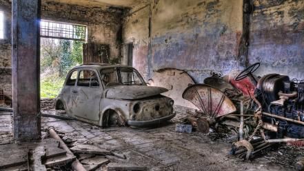 Fiat 500 hdr photography abandoned wallpaper