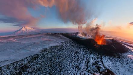 Ice clouds landscapes nature volcanoes eruption ashes skies Wallpaper