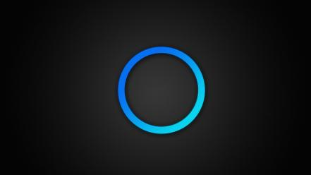 Blue minimalistic rings glow gradient background wallpaper