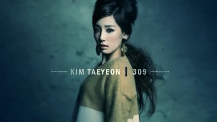 Korean singers kim taeyeon k-pop black hair wallpaper