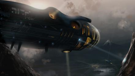 Aircraft futuristic fantasy art artwork wallpaper