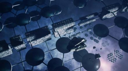 Digital art outer space science fiction station technology Wallpaper