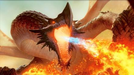 Magic the gathering fantasy art artwork fire breathing wallpaper