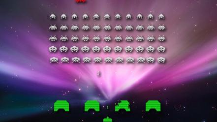 Video games space invaders aurora retro wallpaper