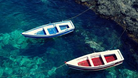 Water blue beach red boats sea wallpaper