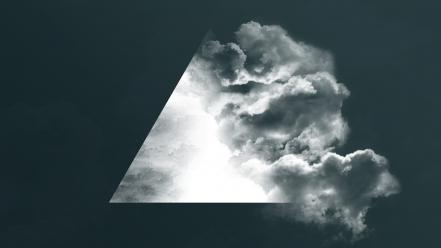 Clouds smoke artwork triangles Wallpaper