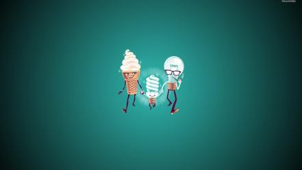 Family ice cream light bulbs fun art wallpaper