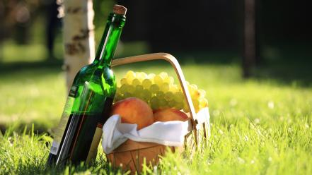Fruits grass bottles grapes baskets picnic wallpaper