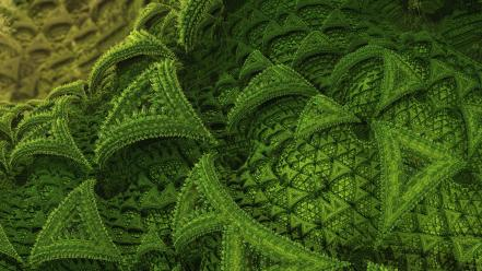 Green abstract fractals geometry wallpaper