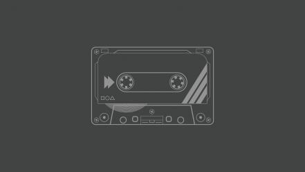Minimalistic cassette grey background audio tapes wallpaper