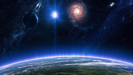 Outer space stars planets fantasy art digital wallpaper