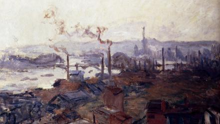 Paintings smoke claude monet cities impressionism wallpaper