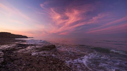 Sunset landscapes coast beach oceans skyscapes wallpaper