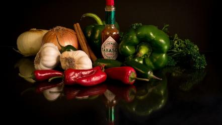 Vegetables sauce garlic onions tabasco Wallpaper